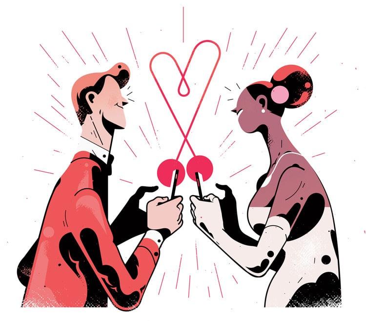 online dating illustration