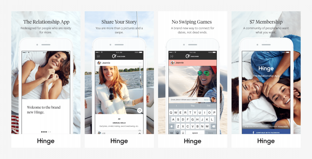 screen shots of Hinge dating app